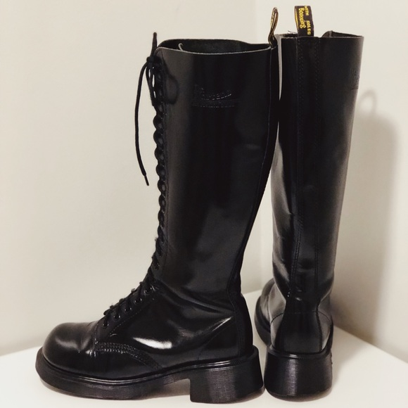 Dr. Martens Vintage Womens 20 Eye DMs Knee High Black Leather Boots Made in England UK 6 US 8 142092
